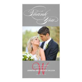 GREY INITIAL SCRIPT WEDDING THANK YOU PHOTO CARD
