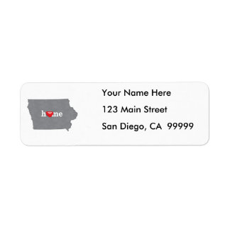 Grey IOWA Home & Open Heart Return Address Label