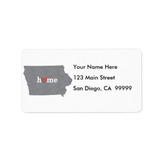 Grey IOWA Home & Open Heart Address Label