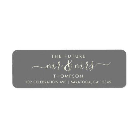 Grey Ivory Elegant Chic Future MR and MRS Address Label