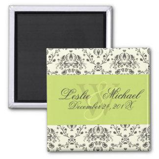 Grey + Ivory Monogram Damask Wedding, Magnets