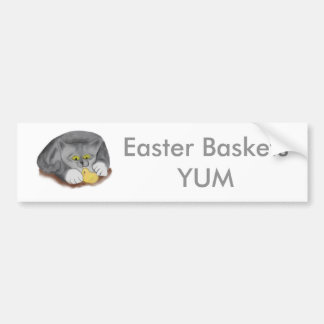 Grey Kitten and Easter Marshmallow Chick Bumper Sticker