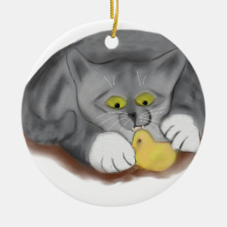 Grey Kitten and Easter Marshmallow Chick Ceramic Ornament