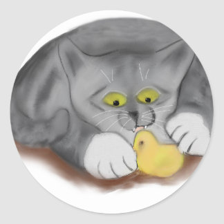 Grey Kitten and Easter Marshmallow Chick Classic Round Sticker