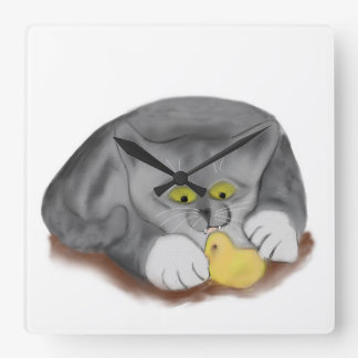 Grey Kitten and Easter Marshmallow Chick Square Wall Clocks