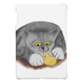Grey Kitten and Easter Marshmallow Chick Case For The iPad Mini