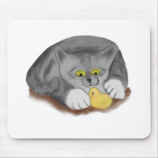 Grey Kitten and Easter Marshmallow Chick Mouse Pad