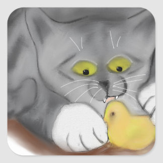 Grey Kitten and Easter Marshmallow Chick Square Sticker
