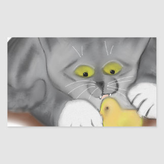 Grey Kitten and Easter Marshmallow Chick Rectangular Sticker