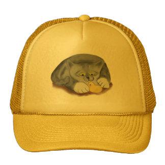 Grey Kitten and Easter Marshmallow Chick Trucker Hat