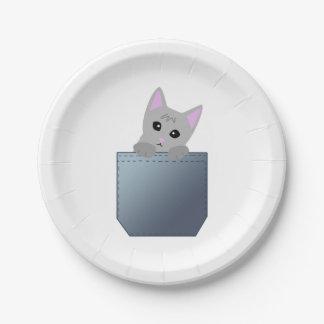 Grey Kitten In A Denim Pocket Illustration 7 Inch Paper Plate