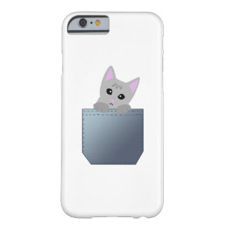 Grey Kitten In A Denim Pocket Illustration Barely There iPhone 6 Case