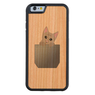 Grey Kitten In A Denim Pocket Illustration Carved Cherry iPhone 6 Bumper Case