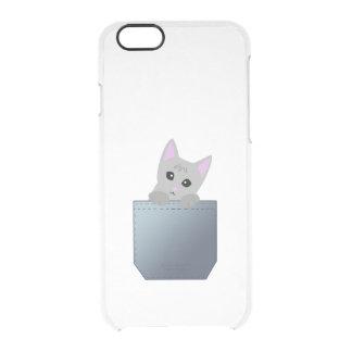 Grey Kitten In A Denim Pocket Illustration Clear iPhone 6/6S Case