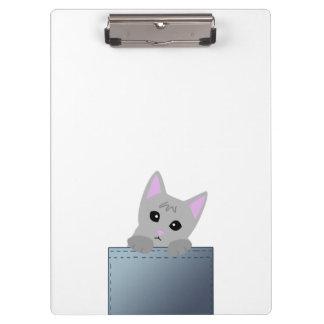 Grey Kitten In A Denim Pocket Illustration Clipboard