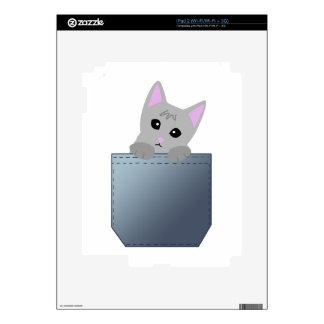 Grey Kitten In A Denim Pocket Illustration iPad 2 Skin
