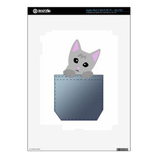 Grey Kitten In A Denim Pocket Illustration iPad 3 Skins