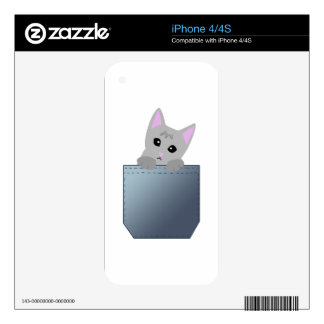 Grey Kitten In A Denim Pocket Illustration iPhone 4 Skins