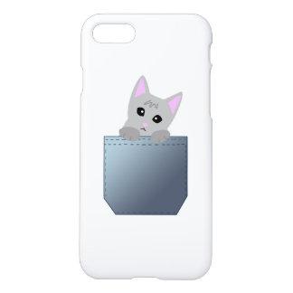 Grey Kitten In A Denim Pocket Illustration iPhone 7 Case