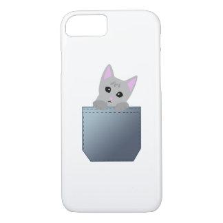 Grey Kitten In A Denim Pocket Illustration iPhone 8/7 Case