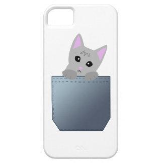 Grey Kitten In A Denim Pocket Illustration iPhone SE/5/5s Case