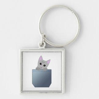Grey Kitten In A Denim Pocket Illustration Keychain