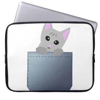 Grey Kitten In A Denim Pocket Illustration Laptop Sleeve