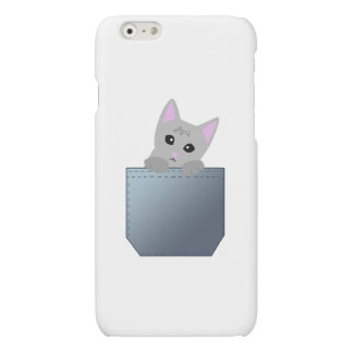 Grey Kitten In A Denim Pocket Illustration Matte iPhone 6 Case