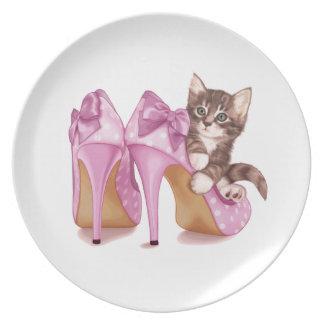 Grey kitten in Stilettos Plates
