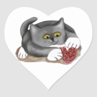 Grey Kitten Plays with a Fluffy Heart Toy Heart Sticker