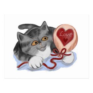 Grey Kitten Plays with a Valentine Balloon Postcard