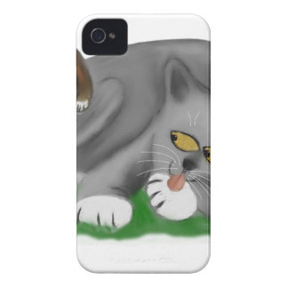 Grey Kitten Plays with his Bunny Pal iPhone 4 Case-Mate Cases