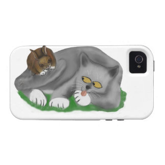 Grey Kitten Plays with his Bunny Pal Case-Mate iPhone 4 Covers