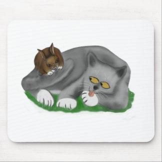 Grey Kitten Plays with his Bunny Pal Mouse Pad