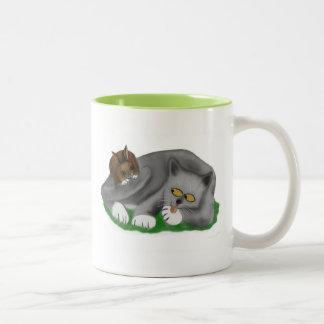 Grey Kitten Plays with his Bunny Pal Two-Tone Coffee Mug
