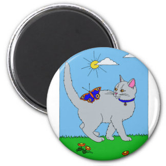 Grey Kitty and Butterfly 2 Inch Round Magnet