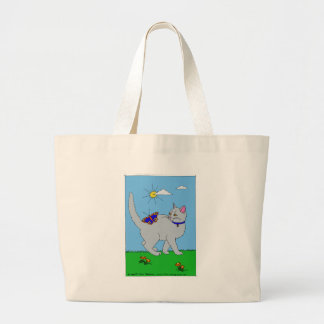 Grey Kitty and Butterfly Large Tote Bag