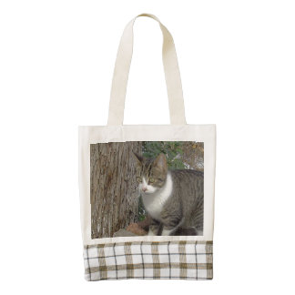 Grey Kitty Cat Stalking Zazzle HEART Tote Bag