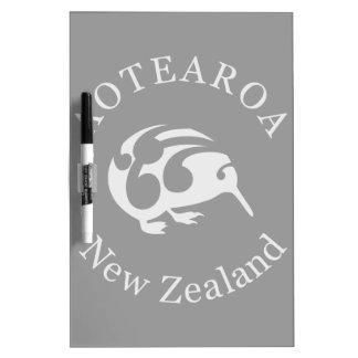 Grey Kiwi with Koru, Aotearoa, New Zealand Dry-Erase Board