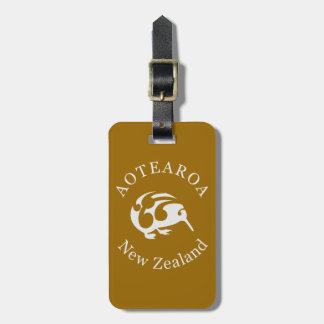 Grey Kiwi with Koru, Aotearoa, New Zealand Luggage Tag
