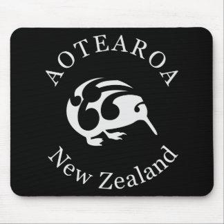 Grey Kiwi with Koru, Aotearoa, New Zealand Mousepads