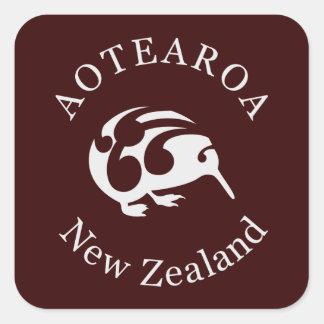 Grey Kiwi with Koru Aotearoa New Zealand Square Sticker