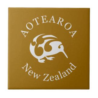 Grey Kiwi with Koru, Aotearoa, New Zealand Tiles