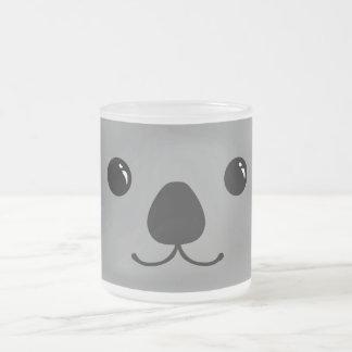 Grey Koala Cute Animal Face Design Frosted Glass Coffee Mug