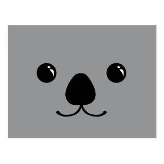 Grey Koala Cute Animal Face Design Postcard
