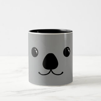 Grey Koala Cute Animal Face Design Two-Tone Coffee Mug