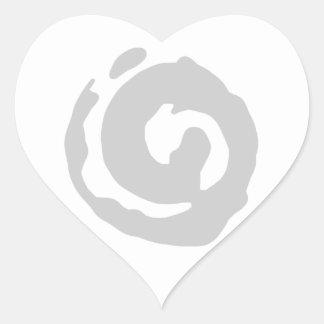 Grey Koru On Colored BG Heart Sticker