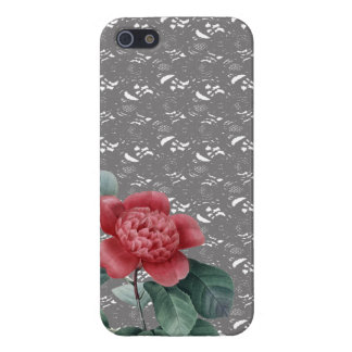 Grey Lace and Red Camelia iPhone Cover