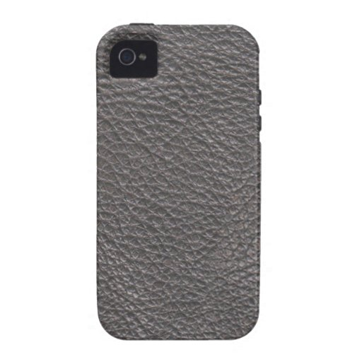 Grey Leather Print Texture Pattern Case-Mate iPhone 4 Cover