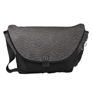 Grey Leather Print Texture Pattern Courier Bag